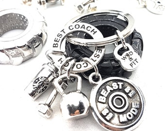 Keychain Coffee Donuts Workout Kettlebell,Shaker,Dumbbell,Gym,Fitness Jewelry,Bodybuilding,Gym Gift,Fitness Jewelry,Sport,Crosstraining Gift