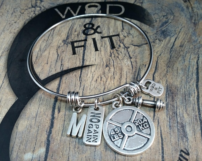 Bracelet Fitness Sharon Workout Weight plate 45lbs,Dumbbell, Motivation Word & Initial letter.Gym,Bodybuilding,Weight lifting,Blank Bangle