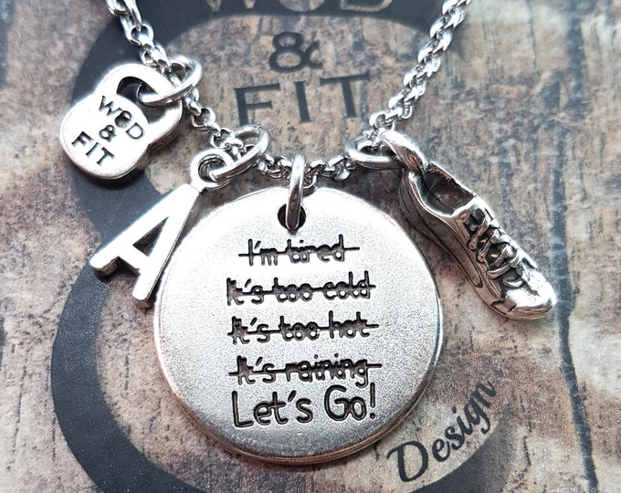 Necklace Lets Go! I'm Stronger than my excuses Weight & Initial Leter.No excuses,Fitness Jewelry,Running,Gym Gift,Sport Jewelry,Crossfit,Wod