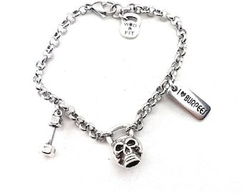 Bracelet Kettlebell Skull Mortal Workout.Joyas Bodybuilding,Gym,Fitmom, Fit Girl Coach Wod and Fit Sport Gym Skull Jewelry Badass Cross Fit