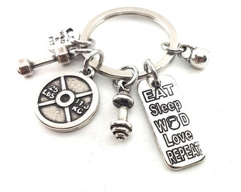 KeyChain Bodybuilding Exercises 25lbs.Customizable Keychain,with Name,Draw,Motivational Word.Fitness,Bodybuilding,Gym gif,Crossfit gift,Wod