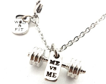 Barbell Necklace & Motivation.Gift for  Fitness - Bodybuilding Gift - Gym Lovers - Gift for Weightlifter - Crossfit Necklace - Crossfit Girl