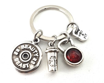Keyringn Kettlebell Color, Coffee & Motivational FitPlate. Fitness Jewels  - Bodybuilding - Crossfit Gift - Natural Bodybuilding - Gym Gift