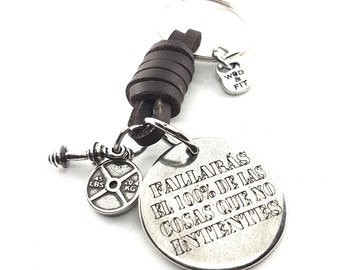 Leather Keychain Fallarás el 100% de las cosa que no intentes & Weights Barbell,Bodybuilding,Runner,Boxing,Gym Gift,Motivational Gift,Runner