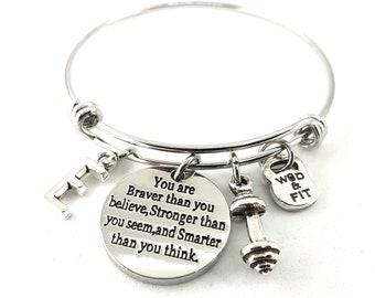 You are Braver than you believe...Bracelet Dumbbell & Initial.Motivation- Fitness Bracelet - Female Bodybuilding - Fitmom -Gym Gift Bracelet