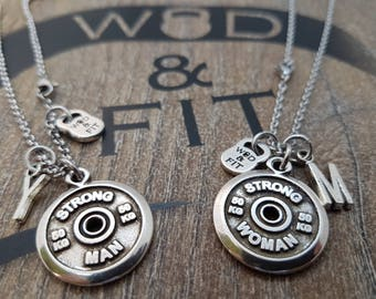 Couple Necklace StrongMan/Strong Woman Workout FitPlate & Initial letter.Fitmom,Bodybuilding,Custom necklace,Couples Gift,My Valentine Gift