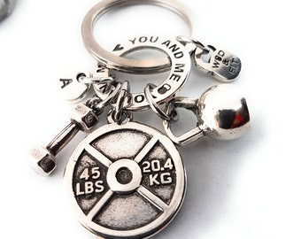 Keychain Weight Collin Workout Weight plate 45lbs Kettlebell,Dumbbell,Motivation Ring & Initial.Weight lifting Bodybuilding,Fitness Jewelry