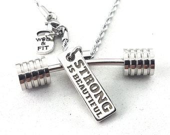 Necklace Strongman Workout Barbell & Motivational Word,Bodybuilding,Gym Gift,Fitness Jewelry,No Pain,Crosstraining Gift,workout gift,Coach