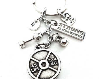 Keychain Rich Workout Weight Plate 45lbs Motivation Fitness jewels.Bodybuilding,Gym,Kettlebell,Crossfiter,Bodybuilder,Crosstraining Gift,Gym