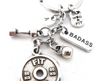 Keychain Fit Girl FitPlateWorkout,Dumbbell,Kettlebell,Motivation & Initial.Bodybuilding Gift,Fitness Jewelry,Gym Gift,Crossfit,Girl Gifts