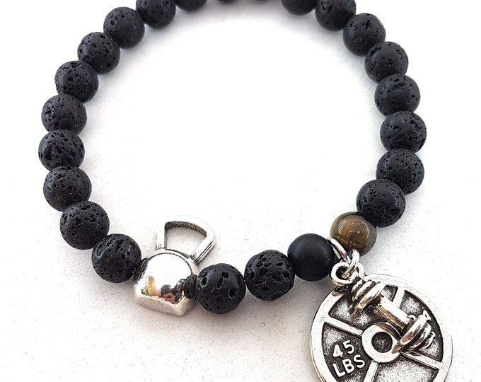 Kettlebell Tabata Workout Bracelet Lava Stone & Weight.Fitness Jewelry,Bodybuilding,Fitmom,FitGirl,Coach Gift,Crosstraining,Gym Gifts,Sports