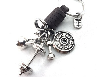 Barbell Club Brown Leather Keychain Motivational Plate,Kettlebell,Dumbbel.Barbell,Bodybuilding Jewelry,Coach Gift,Crosstraining,Crossfiter