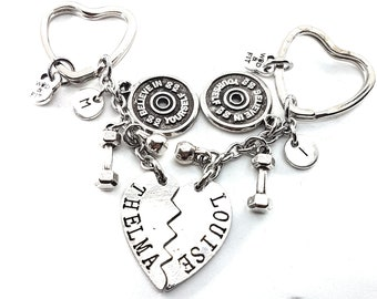 Couple Keychain Thelma & Louise Believe in Yourself Plate and Dumbbell Workout Initial Letters.Best Friends,Fitness Jewelery,Couple  Gift