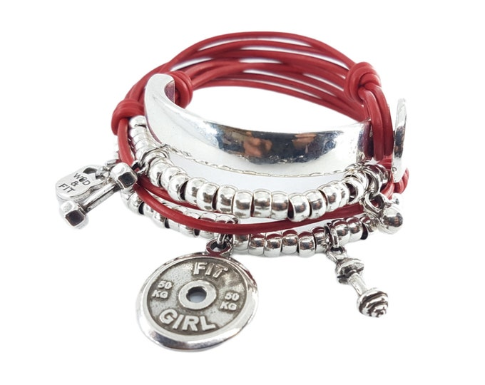 Featured listing image: Fitness Motivation Bracelet Red Wrist Wrap Workout gift - Fit Girl - fitness gifts - Gym gifts- strong women gift - Girl gift - Fitness Mom
