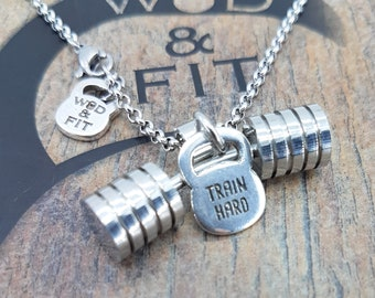 Necklace Strongman Workout Barbell & Kettlebell Motivation,Bodybuilding Jewelry,Gym,Fitness Gift,WeightLifting,Powerlifting,No Pain No Gain
