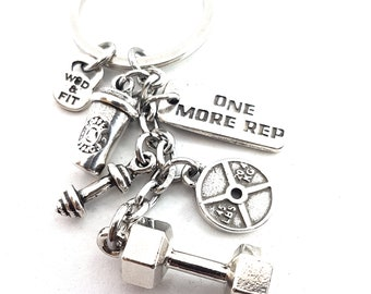 Keychain Dumbbell Hex- Plate Coffee Workout Barbell & Motivation -Coffee Lovers -Bodybuilding jewels - Crossfit Keychain - Fitness -Gym Gift