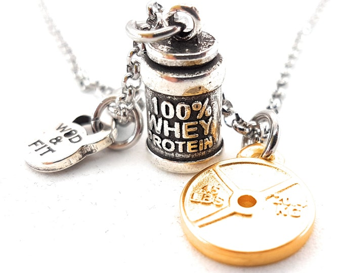 Necklace 100% Whey Protein & Weight Workout Dumbbell Bodybuilding,Motivational Jewelry,Coach,Fitness Gifts,Crosstrainer,FitGirl,Gym Gifts