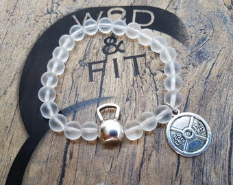 Bracelet Kettlebell Swings Workout Frosted Beads & Motivational Word.FitGirl,Bodybuilding,Fitness jewelry,Gym,Fitmom,Crosstraining Gift,Wod