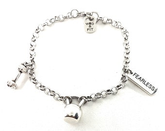 Bracelet Kettlebell Christina Workout Motivation Jewelry Bodybuilding,Gym,Crosstraining Gift,Fit Mom,Fit Girl,Motivational Gift,Wod and Fit