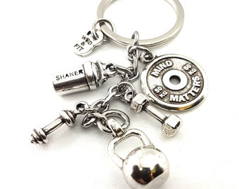 Keychain Kettlebell Shaker & Motivational FitPlate Exercise Workout.Bodybuilding Gift,Protein Bottle,Gym Gifts,Fitness,Crossfit Gift,Sport