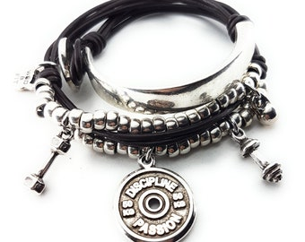 Leather Bracelet Wrist Wrap FitPlate Workout Fitness Jewels & Motivation,Bodybuilding Gift,Gym,Fit Mom,Fitness Girl,Workout Jewelry,Fit Girl