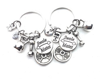 Couple Keychain Swole Mates  & Weight Plate 25lbs+25lbs Initial.Kettlebell,Fitness,BFF Gift,Crossfit,Couples Gift,Bodybuilding,Friends Gift