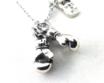 Necklace Boxing Glove Motivation Boxing Edition.Boxing glove pendant,Coach Gift,Fitness Jewels,UFC,Boxing Necklace,boxing love gifts,Wod&Fit