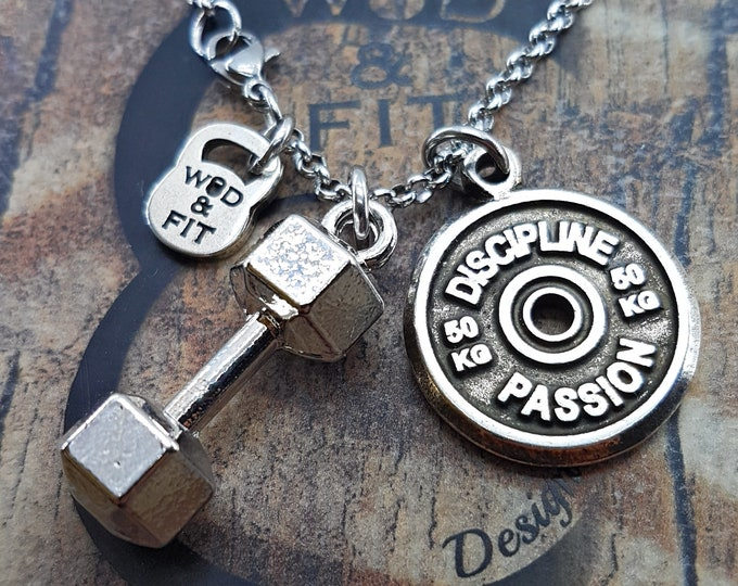 Necklace FitPlate 50kg & Dumbbell XL Santiago Workout Motivational Weight Plate.Gift,Bodybuilding Jewelry,Best Coach gift,Fitmom FitGirl
