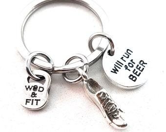 Runner Keychain Workout,Motivation.Wod,Motivational Gift,Runner gift,Running Jewelry,Marathon,Love Runner,Born To Runner,Love to Run,Sport