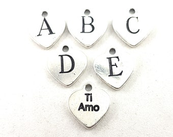 Heart Initial letter charm Metal Silver plated charm,Initial Letter,Initial Charm,letters for Bracelet,Keychain,Necklace,Backpack,Pendent