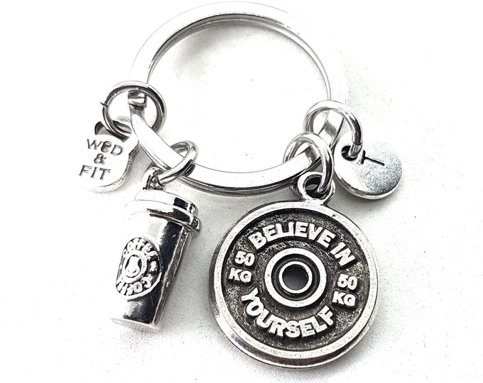 Keyringn Coffee & Motivational FitPlate Initial letter Workout,Fitness Jewelry,Bodybuilding Gift,Coach Giftt,Crosstraining,Gym Gifts,Sport