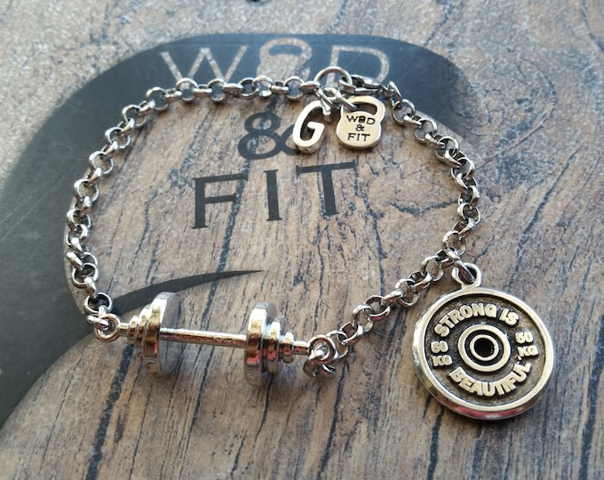 Barbell Bracelet Grace FitPlate Workout.Bodybuilding,Fitmom, FitGirl,Gym,Dumbbell,Motivation Weight Lifting Fitness Jewelry Gift Wod and Fit