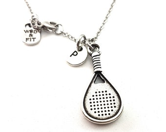 Necklace Padel-Tennis & Initial.Gift for Padel Lover,Padel Tennis gift,Gift for Padel,Padel Tennis Woman,Paddle tennis Gift,padel Sport Gift