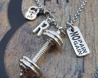 Necklace Barbell Motivatión & Initial letter.Fitness Workout Bodybuilding Jewelry,Gym Gift,Weight Lifting,Custom,Cross Fit Gift,Coach Gift
