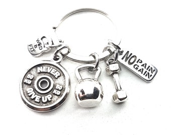 Keychain Kettlebell Swings Workout Motivational Plate - Fitness Jewels - Bodybuilding - Coach Gift - Gym Gift - Love Crossfit - Wod & Fit