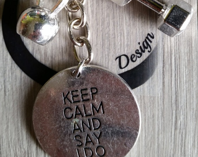 Keychain Motivation Keep Calm and Say I Do Kettlebel & Dumbbell.Workout,Kettlebell,Gym,Weight lifting,Bodybuilding,Fitness,Motivational gift