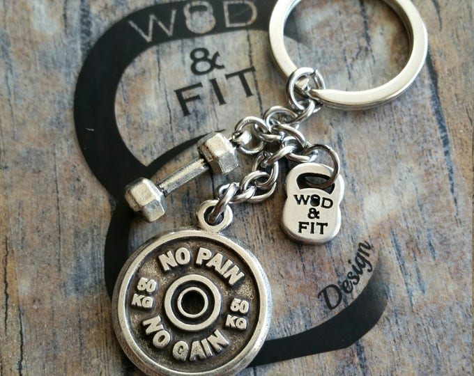 Keychain Fitness Ricky Chain Workout Motivation Weigth Plate FitPlate & Dumbbell,Coach Gift,Bodybuilder,Crossfiter,Fitness Jewelry,Fit Girl