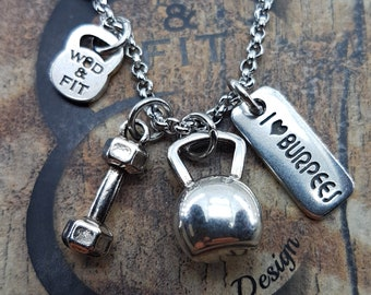 Necklace Whitten Workout Dumbbell & Motivation,Bodybuilding,Motivational Jewelry,Coach gift,Fitness Gifts,FitMom,FitGirl,Gym Gifts,Sport Wod