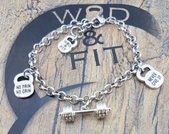 Barbell Bracelet Helen Motivation Workout.Fitness Jewelry,Bodybuilding Gift,Gym,Dumbbell,Kettlebell,Barbell Jewelry,Crossfit girl,Weightlift