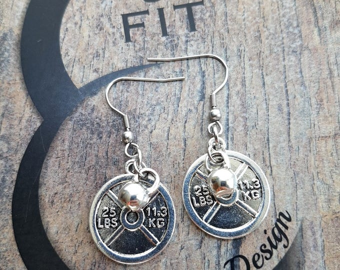 Earrings Weight Plate & Weight Workout,Fitness Weight Lifting Kettlebell,Gym,Bodybuilding Jewelry Dumbbell,Fitmom Motivation Barbell FitGirl