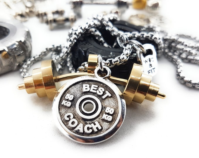 Necklace Power Clean Workout Barbell Gold & Motivational Weight Plate Bodybuilding Jewelry,Gym Fitness Gift,Weight Lifting,Best Coach Sport