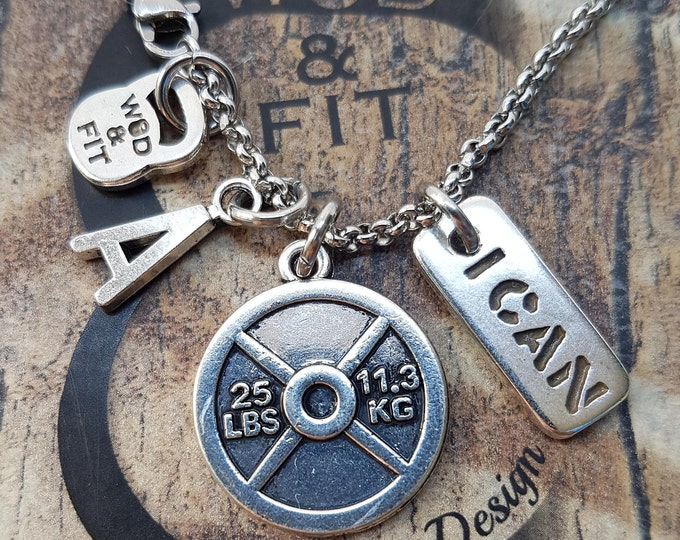 """Necklace Fitness The Twins Workout Weight Plate 25lbs""""I Can/I Will"""" Iniciál,Bodybuilding,Motivational Jewelry,Weightlifting,Coach Gift,Cross"""