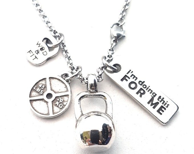 Necklace Bad Karma Workout Kettlebell,Weight & Motivational Word Bodybuilding,Coach gift,Fit Mom,FitGirl,Crosstraining Gift,Wod and Fit,Gym