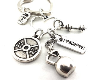 Keychain Cindy Workout Half Kettlebell Gym Gift - Fitness Jewels - Coach Gift - FitGirl - Fit mom Gift - CrossFit Girl Gift - Bodybuilding