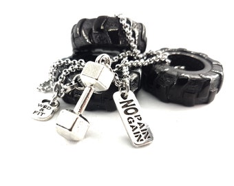 Dumbbell Necklace & Motivation Fitness Gym Kettlebell,Bodybuilding,Gym jewelry,Sports gift,Personalized,Coach Gift,Unisex Crosstraining Gift