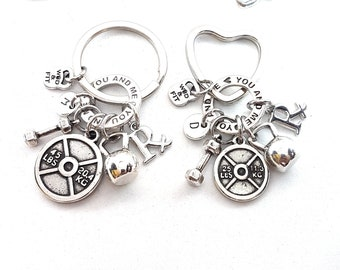 Couple Keychain You and Me Workout Kettlebell, Weight plate,Dumbbell,Initial Letter.Bodybuilding,Fitness Gift Couple,Gift Gym,Crosstraining