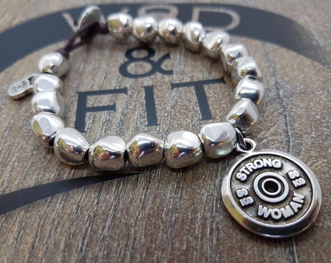 Bracelet Ariana Workout FitPlate 50kg Motivational word,Bodybuilding Gift,Fitness Jewelry,Crosstraining Gift,Coach Gift,Fitness Girl,Wod&Fit