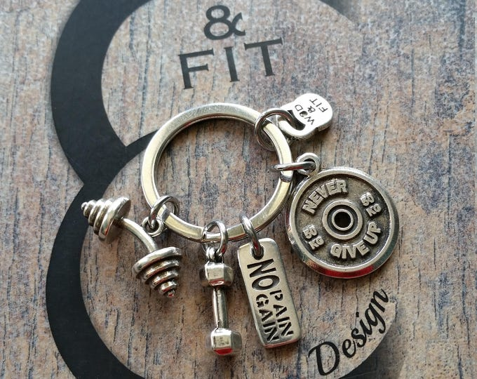 Keychain Cluster Workout Motivational FitPlate,Barbell,Dumbbel & Motivation.Fitness Jewelry,Bodybuilding,Coach Gift,weight lifting,Fit Girl