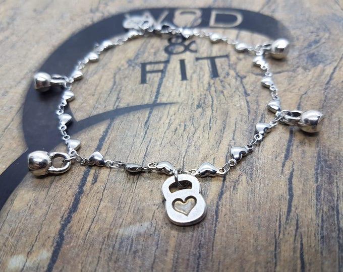 Bracelet Kettlebell Heart Workout Stainless Steel.Fitness Jewelry,Motivational gift,Women bracelet,Cross Fit Gift,Fit Girl,Valentines Day