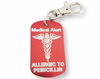 Emergency Medical Alert Customizable Engraved Aluminum 50x30 NO LASER - Medical Alert Keychain - Diabetes - Allergy - Medical Condition Info